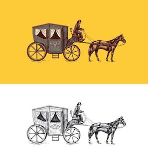 Cocher de calèche sur un vieux char victorien à propulsion animale transport public dessiné à la main