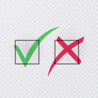 Cochez et croisez les signes. coche verte ok et icônes x rouges
