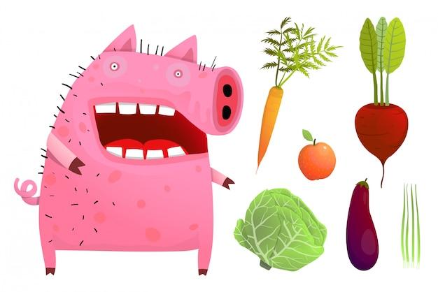 Cochon amusant, manger des légumes intelligents isolés