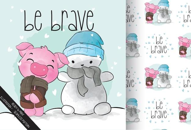 Cochon animal mignon avec modèle sans couture de bonhomme de neige