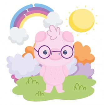 Cochon animaux mignons avec des lunettes arc-en-ciel nuages dessin animé soleil