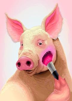 Cochon applique le fard à joues sur sa joue