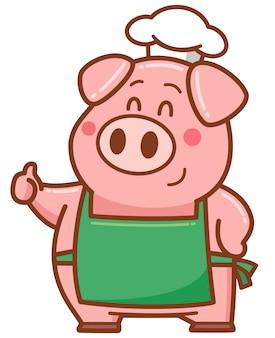Cochon chef de bande dessinée