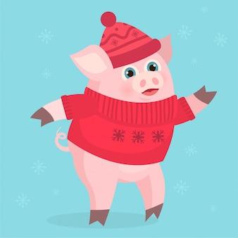 Cochon en costume rouge