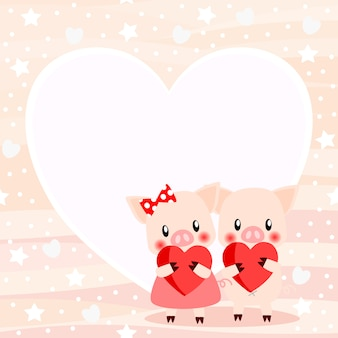 Cochon de couple mignon dans le fond de la saint-valentin.