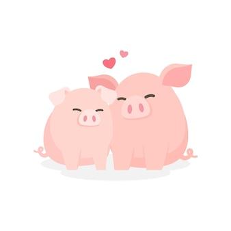 Cochon de couple mignon embrassant embrassant avec bonheur, datant concept de relation, illustration de vecteur de dessin animé.