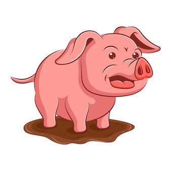 Cochon dans la boue dessin animé art et illustration