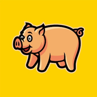 Cochon esports logo illustration vectorielle mascotte