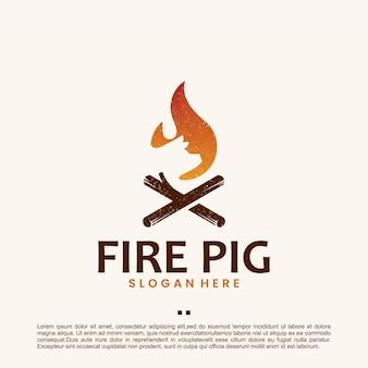 Cochon de feu, barbecue, inspiration de conception de logo