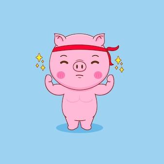 Cochon fort faisant des exercices de dessin animé
