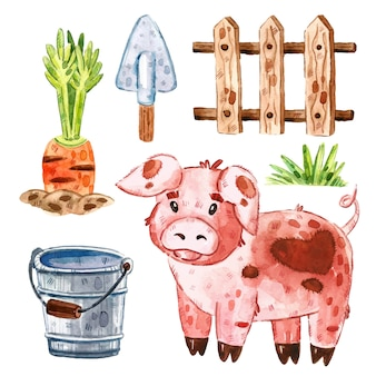 Cochon, herbe, clôture en bois, carotte, seau, pelle. clipart animaux de ferme, ensemble d'éléments. illustration aquarelle.