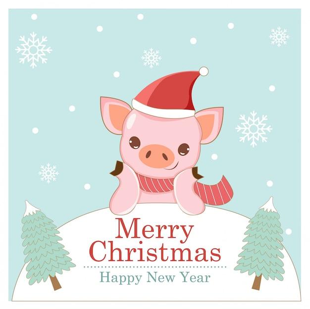 Cochon heureux en carte de voeux de noël
