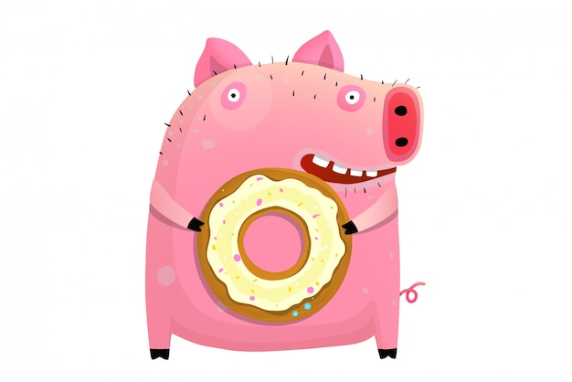 Cochon humoristique tenant donut