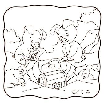 Cochon d'illustration de dessin animé creusant un livre ou une page au trésor pour les enfants en noir et blanc
