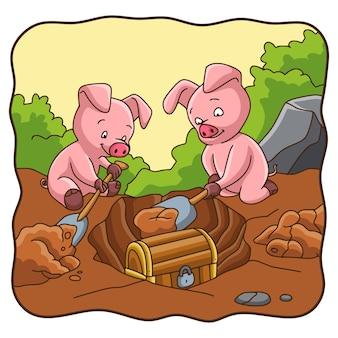 Cochon d'illustration de dessin animé creusant un trésor