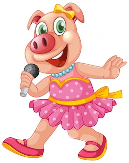 Cochon isolé mignon chantant