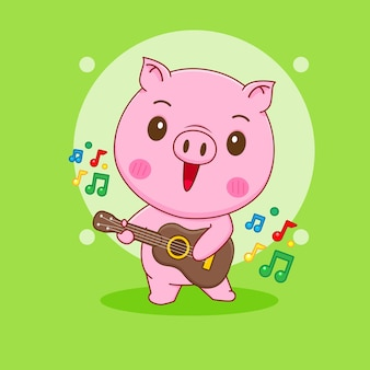 Cochon jouant de la guitare dessin animé