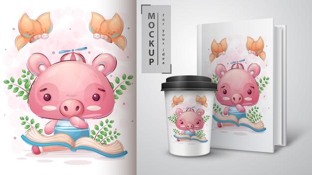 Cochon lire l'affiche du livre et le merchandising.