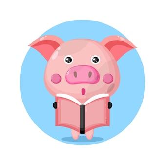 Cochon lisant un logo de personnage mignon de livre
