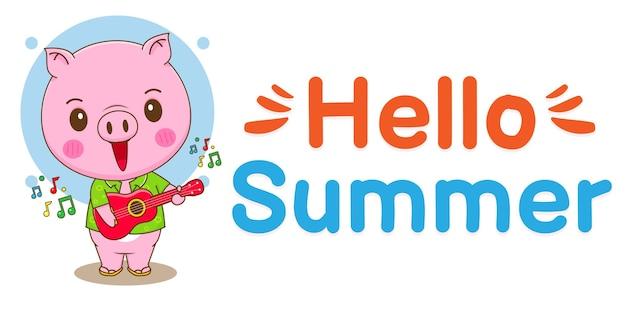 Cochon mignon avec bannière de voeux d'été