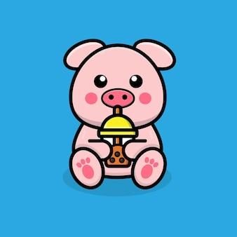 Cochon mignon buvant du thé boba