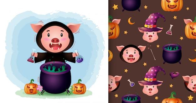 Un cochon mignon avec une collection de personnages halloween costume de sorcière. modèles sans couture et illustrations
