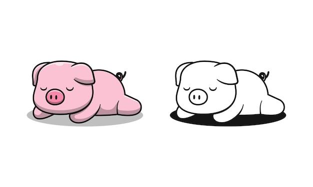 Le cochon mignon dort des pages de coloriage de dessin animé pour les enfants