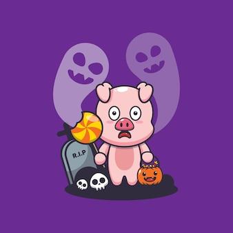 Cochon mignon effrayé par un fantôme le jour d'halloween illustration de dessin animé mignon d'halloween