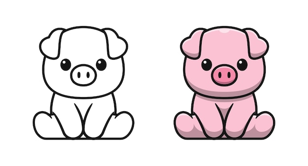 Le cochon mignon est assis des pages de coloriage de dessin animé pour les enfants