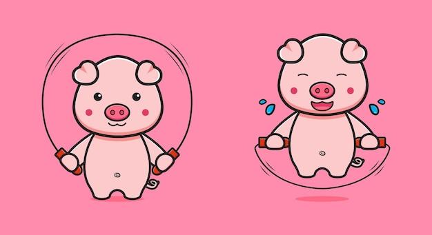 Cochon mignon faire sauter corde cartoon icône illustration. concevoir un style cartoon plat isolé