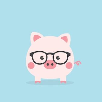 Cochon Mignon Geek, Année Du Cochon. Vecteur Premium