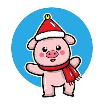 Cochon mignon avec illustration de concept de noël de personnage de dessin animé de bonnet de noel