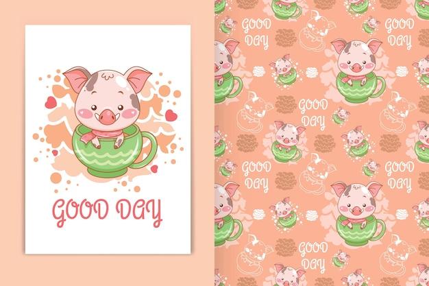 Cochon mignon avec une illustration de dessin animé de tasse de thé et un ensemble de motifs harmonieux