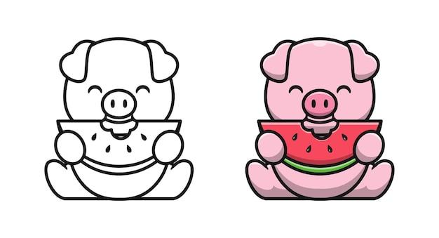 Un cochon mignon mange des pages de coloriage de dessin animé de pastèque pour les enfants