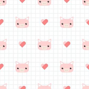 Cochon mignon avec motif sans soudure de dessin animé de grille