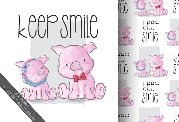 Cochon mignon avec motif transparent ami