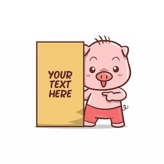 Cochon mignon avec panneau de texte