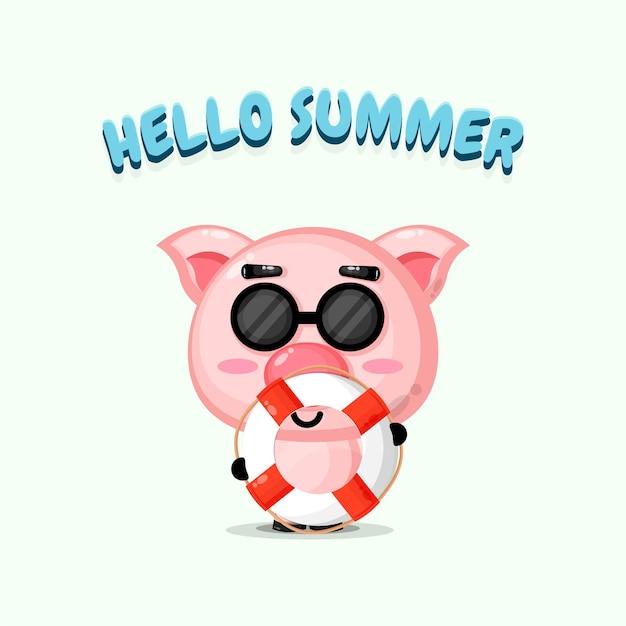 Cochon Mignon Portant Un Char Avec Des Salutations D'été Vecteur Premium
