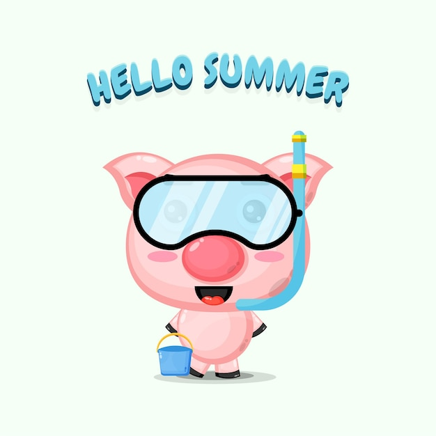 Cochon mignon portant des vêtements de plongée avec des salutations d'été