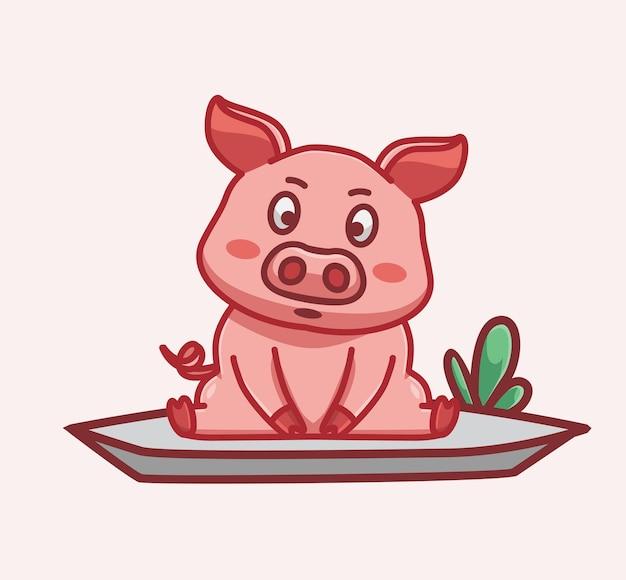 Cochon mignon s'asseoir et regarder devant l'icône d'illustration vectorielle isolé dessin animé animal style plat