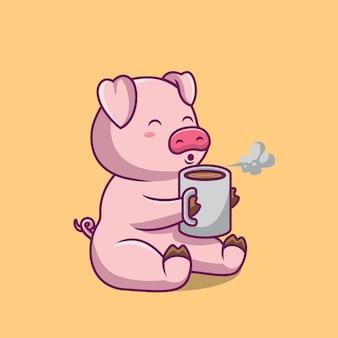 Cochon mignon soufflant illustration de dessin animé de café chaud