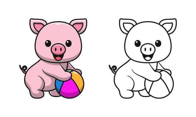Cochon mignon tenant un dessin animé de balle pages à colorier pour les enfants