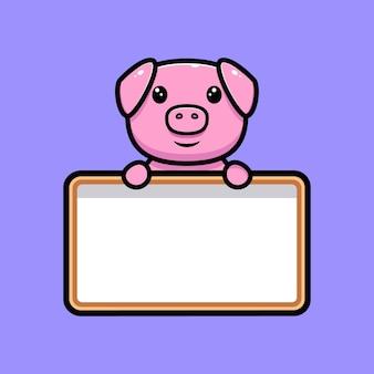 Cochon mignon tenant le personnage de mascotte de tableau de texte vierge