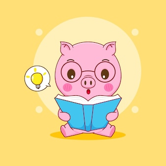 Cochon nerd avec des lunettes lisant un dessin animé de livre