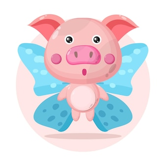 Cochon papillon personnage mignon