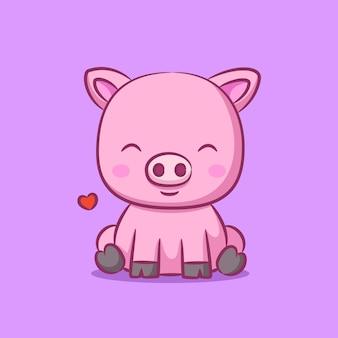 Cochon avec de petites oreilles et assis près du signe de l & # 39; amour