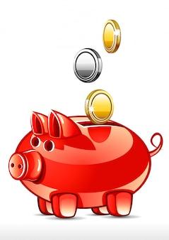 Cochon avec des pièces