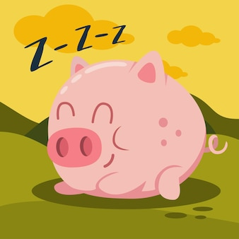 Cochon rose mignon dormant sur l'illustration de dessin animé d'herbe verte. animaux de ferme.