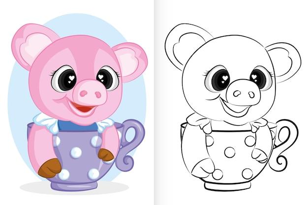 Cochon rose mignon en tasse. livre de coloriage