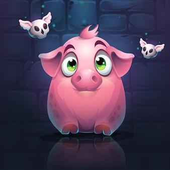 Cochon rose sur un mur de briques avec des crânes volants